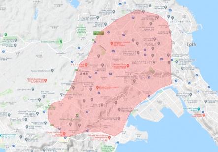 Uber Eats(ウーバーイーツ)沖縄県沖縄市の配達エリアマップ