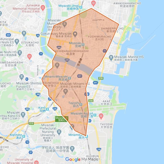 Uber Eats(ウーバーイーツ)宮崎市の配達エリアアップ