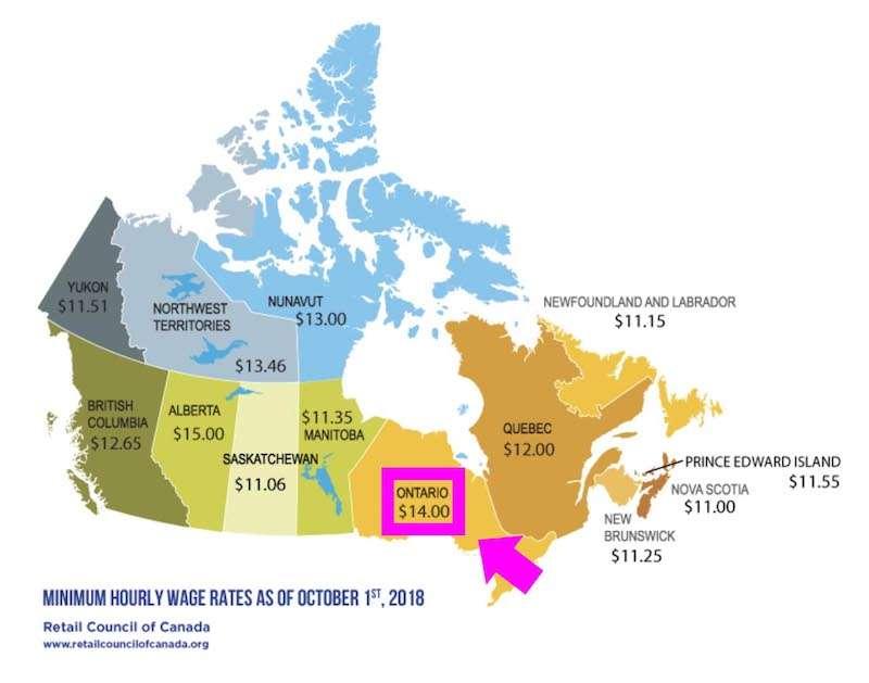 オンタリオ州の最低賃金
