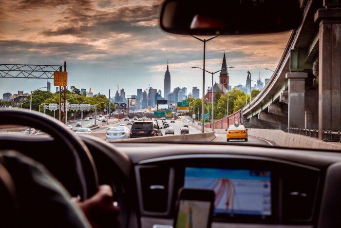 Uberの車からの景色