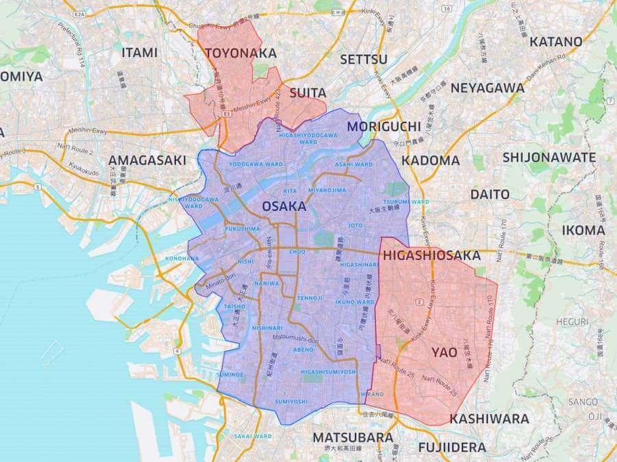 ウーバーイーツ大阪の対応エリア