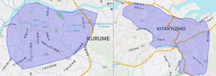 Uber Eats(ウーバーイーツ)が久留米・北九州で展開するエリア