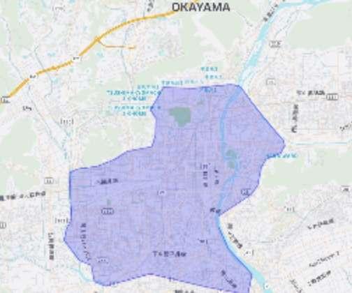 Uber Eats(ウーバーイーツ)岡山市のマップ