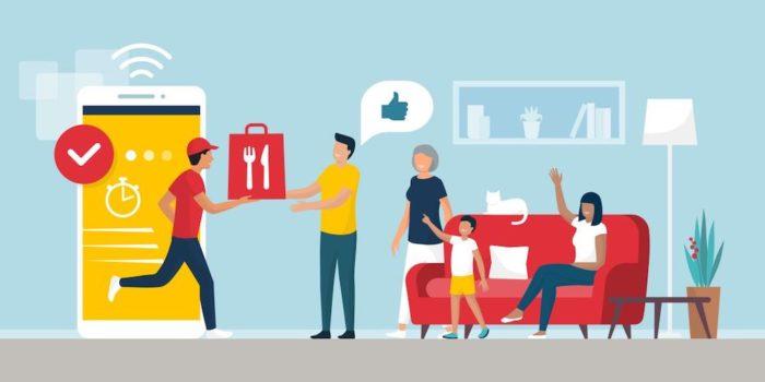 食事を配達する配達パートナーと家族