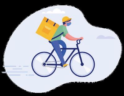 自転車に乗る配達パートナーのイラスト