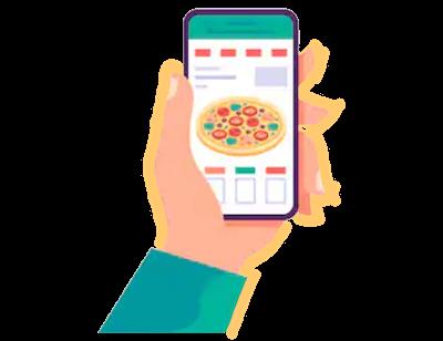 ウーバーイーツのアプリでピザの注文をする画面