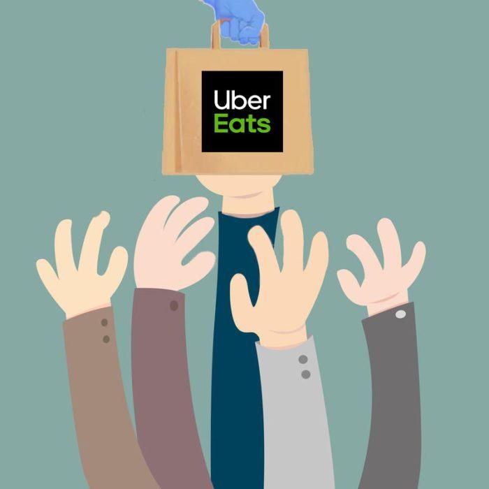 Uber Eats(ウーバーイーツ)の注文を取り合う手