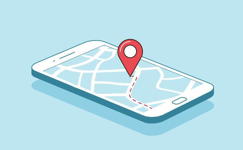 スマートフォン上のマップのイラスト