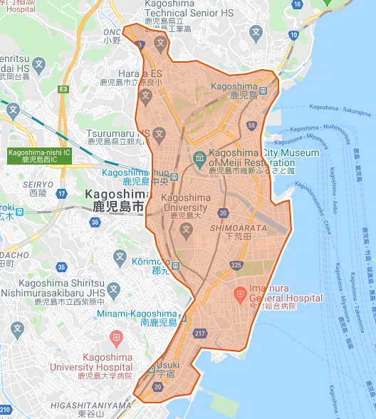 Uber Eats(ウーバーイーツ)鹿児島県のマップ