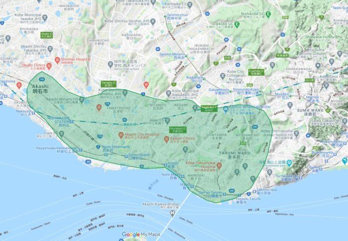 Uber Eats(ウーバーイーツ)明石・垂水エリアのマップ