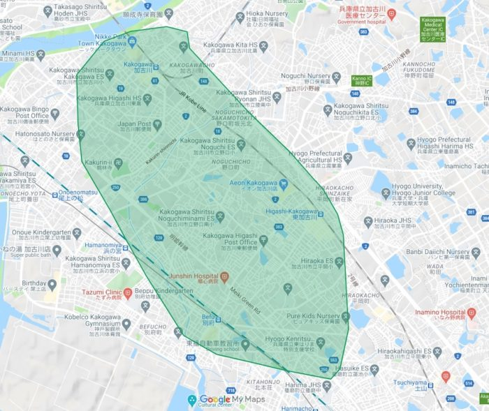 ウーバーイーツ・兵庫県加古川市のマップ