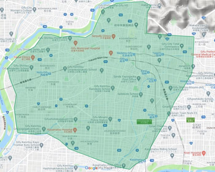 Uber Eats(ウーバーイーツ) 岐阜県岐阜市のエリアマップ
