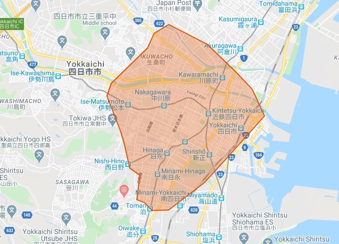 Uber Eats(ウーバーイーツ)四日市市のマップ