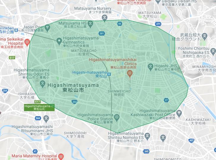 Uber Eats(ウーバーイーツ) 埼玉県東松山市の配達対応エリアマップ